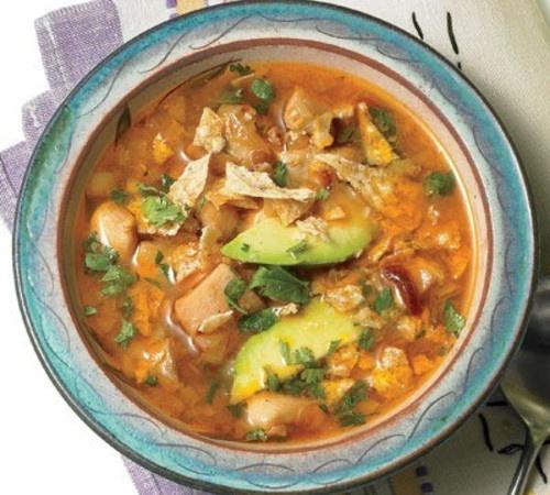 Chicken Lime, Avocado, and Cilantro Soup