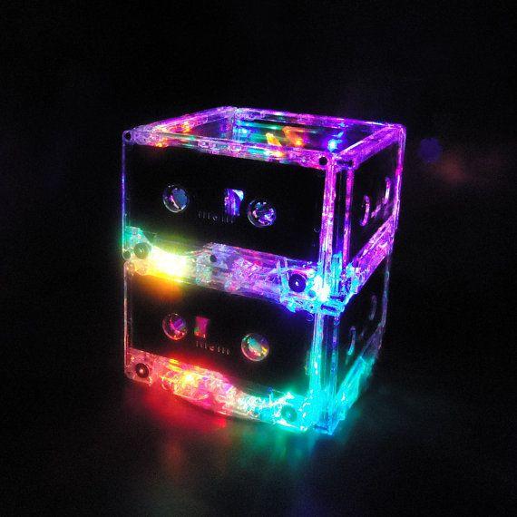 lighting multi color led cassette mixtape night light lamp mood light. Black Bedroom Furniture Sets. Home Design Ideas