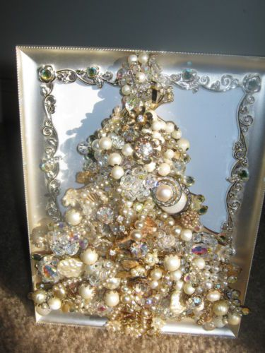 Vintage antique jewelry rhinestones christmas tree picture frame