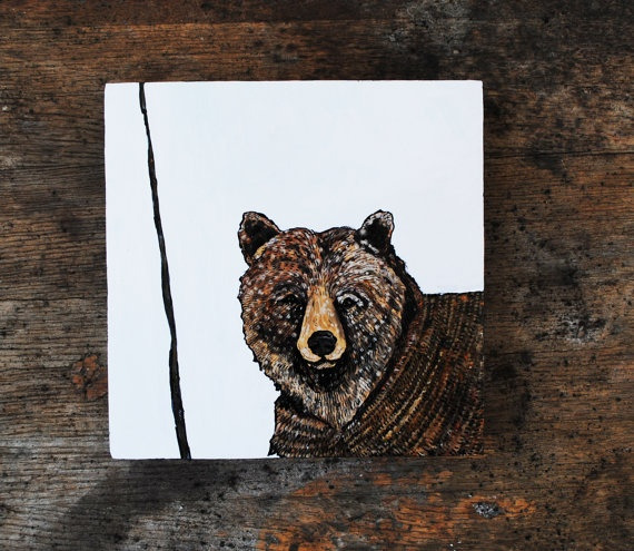 Grizzly Bear Art Fine Art Painting Oil Painting by SorchaMoon, $90.00