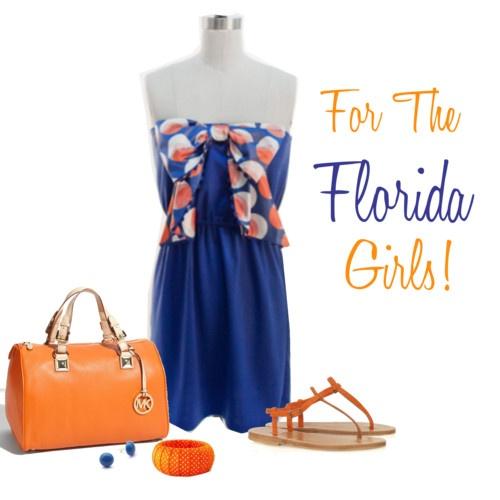 Florida game day dress #judithmarch #orange #blue