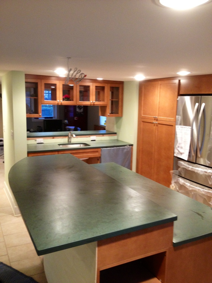 Dark Green Slate kitchen island  Soapstone Countertops  Pinterest