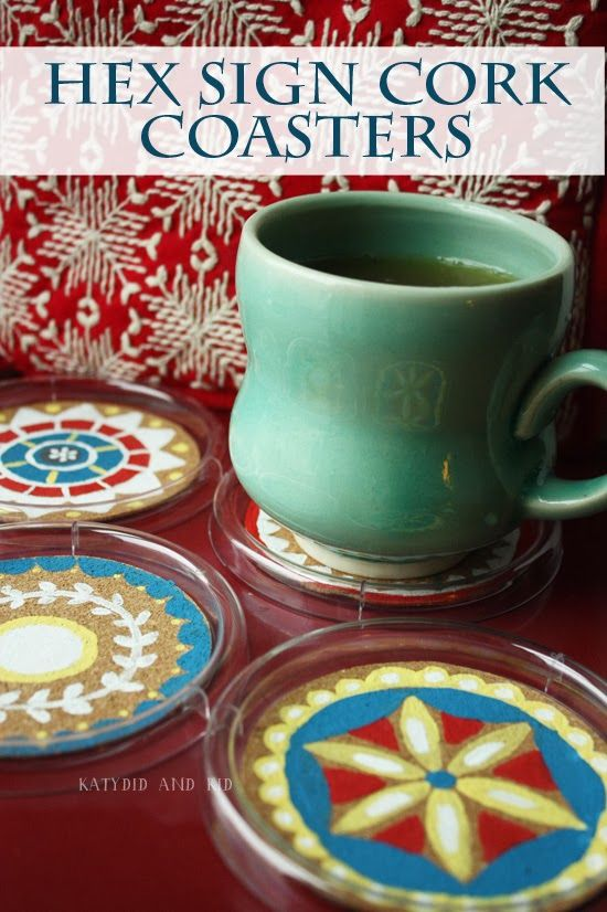 Katydid and Kid: Handmade Gift Idea: Hex Sign Cork Coasters