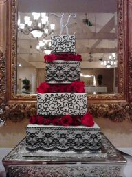 Wedding Cake Sacramento Black White And Red Wedding Cake Black Lace Wedding Sugar And Spice
