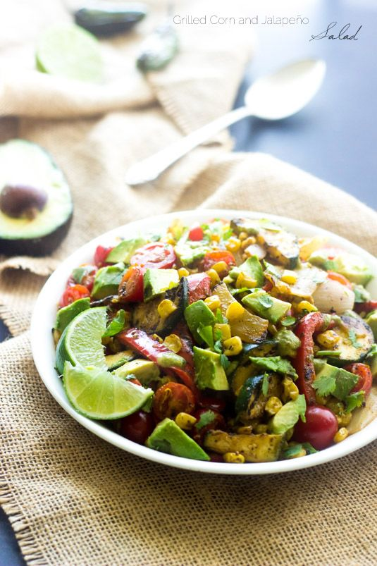 Grilled Corn Salad with Jalapeno Lime Vinaigrette - A quick, easy and SO yummy side dish!
