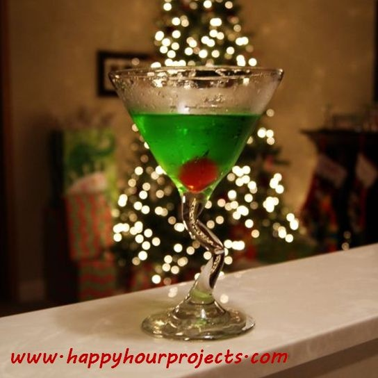 This is a nice little martini for the holidays the grinch martini