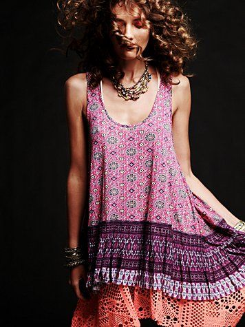 One Medallion Pleated Tunic over Textured Bottom Trapeze Tank - Free People May 2011