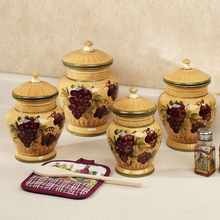 handpainted grapes kitchen canister set