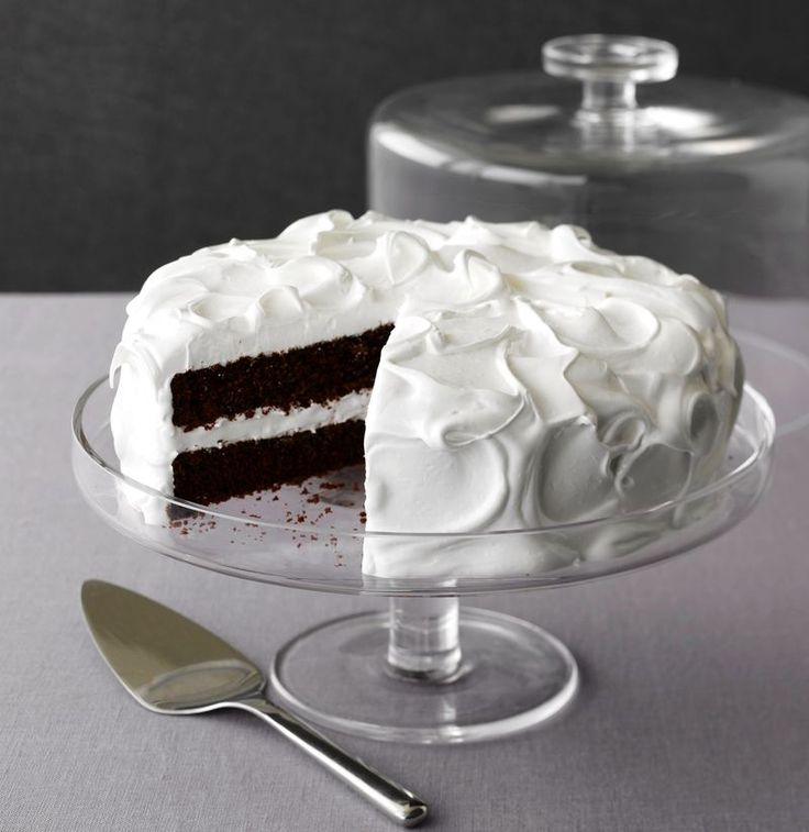 Devils Food Cake with Fluffy Egg White Icing