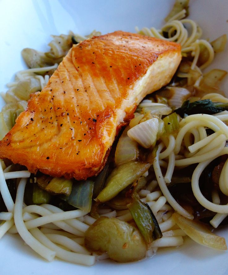 Greens and Garlic-Ginger-Honey Glaze ~ pan seared and steamed salmon ...
