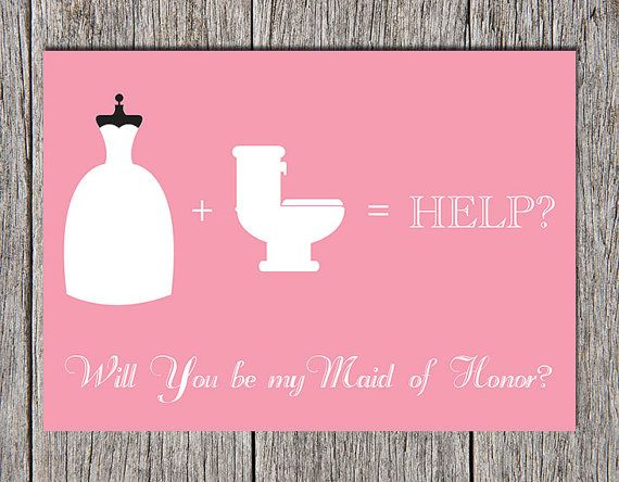 "Printable ""Will You be My Maid of Honor?"" Invitation Card, Instant Download, by Paper Hat Designs on Etsy, $5.00"