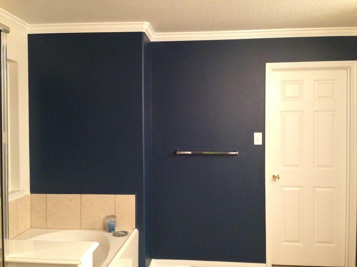 Dark blue bathroom wall home decor pinterest for Dark blue bathroom decor