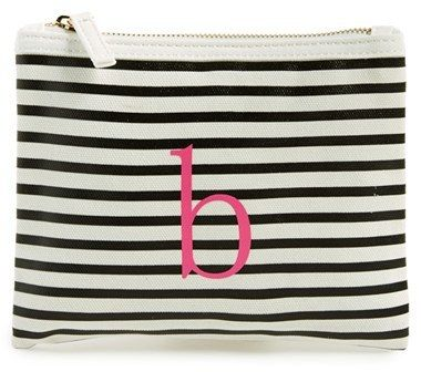 idecoz toss designs initial embellished stripe pouch