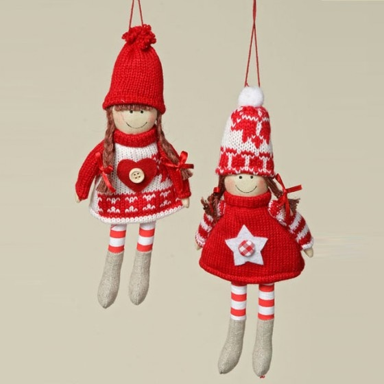 Knitted Red & White Hanging Christmas Tree Doll Decorations