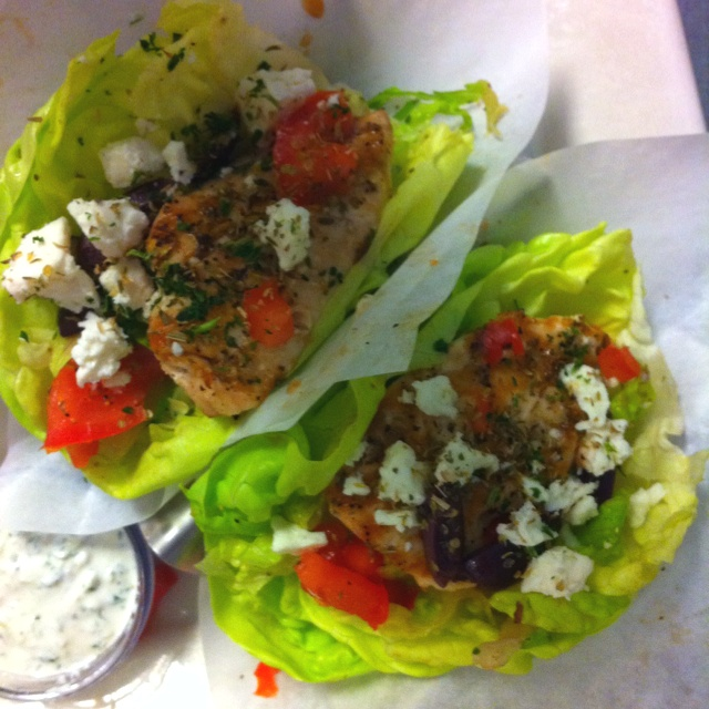 Mediterranean lettuce wraps from the Cheesecake Factory. Delicious!!