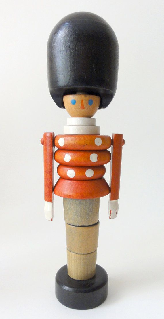 Vintage wooden soldier stacking toy czechoslovakia