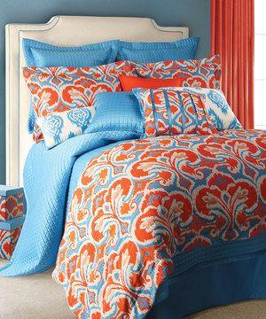 light blue orange ikat duvet set