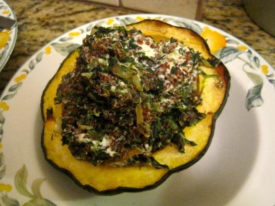 Quinoa, Spinach and Ricotta stuffed Acorn Squash