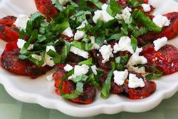 Quick Roasted Tomatoes with Basil and Goat Cheese | Recipe