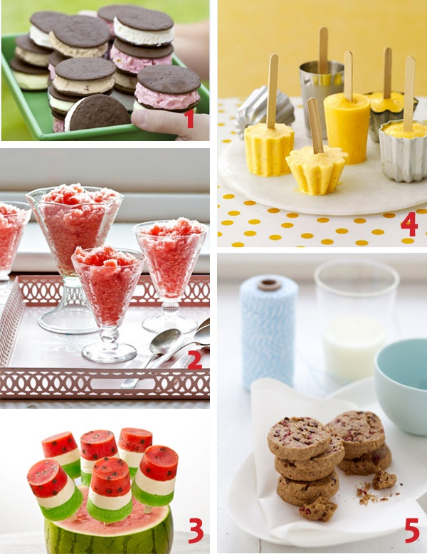 Ice Cream Sandwiches 2) Watermelon Granitas 3) Watermelon Ice Pops ...