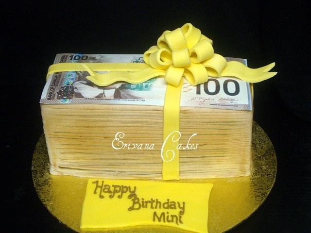 stacks of money cakes