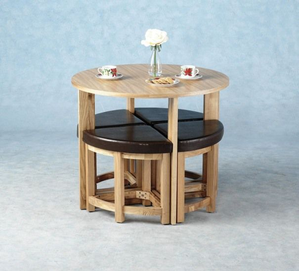 Dining table dining tables for small spaces for Compact kitchen table set