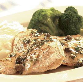 Finecooking chicken piccata with fried capers