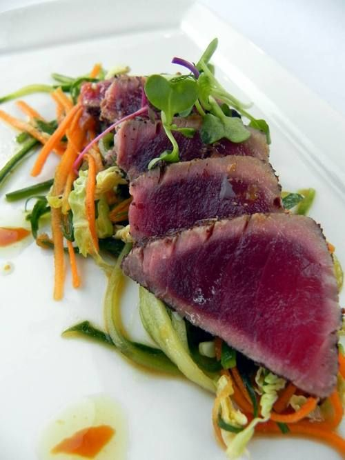 ... Tuna with cucumber, micro greens salad and ponzu from Heritage Grill