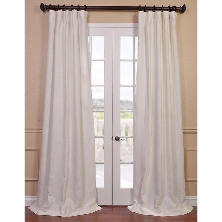 Ivory French Linen Lined Curtain Panel