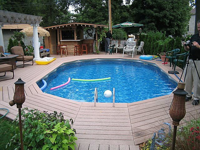 Tiered Backyard With Pool : pool  images  ideas for landscaping the yard Full deck with tiered