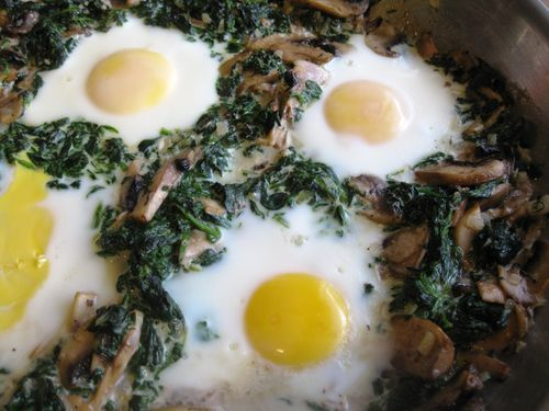 BAKED EGGS WITH SPINACH & MUSHROOMS: I would substitute butter for ...