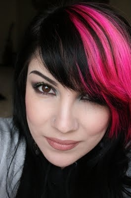Black and Hot Pink #hair