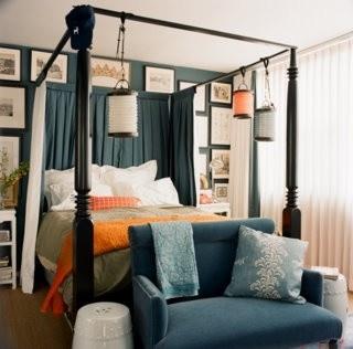 Navy orange bedroom