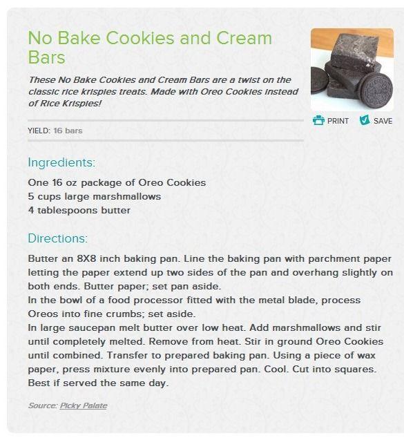 No Bake Cookies and Cream Bars   Recipe
