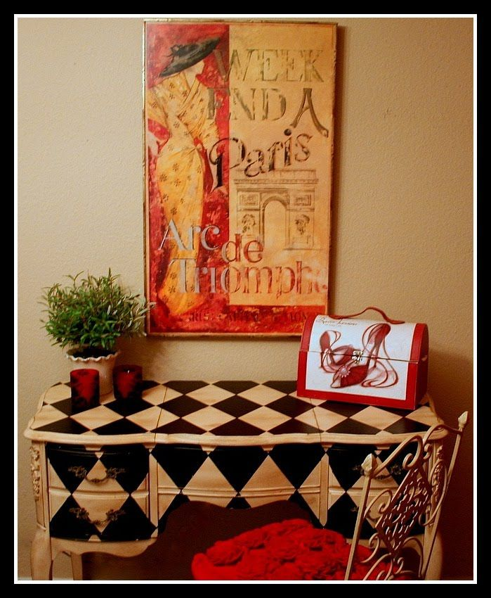 #Handpainted #furniture! #Harlequin Vanity