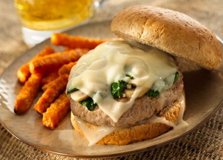 Grilled Swiss Turkey Burgers with Sauteed Spinach & Mushrooms (using ...