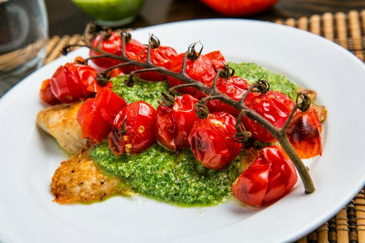 Tilapia With Pesto And Roasted Tomatoes Recipe — Dishmaps