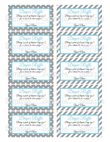 Printable Moustache Gray & Blue Baby Shower Diaper Raffle Tickets ...