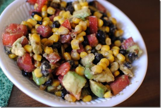 Throw together lunch: Corn + black bean + Avocado Salad
