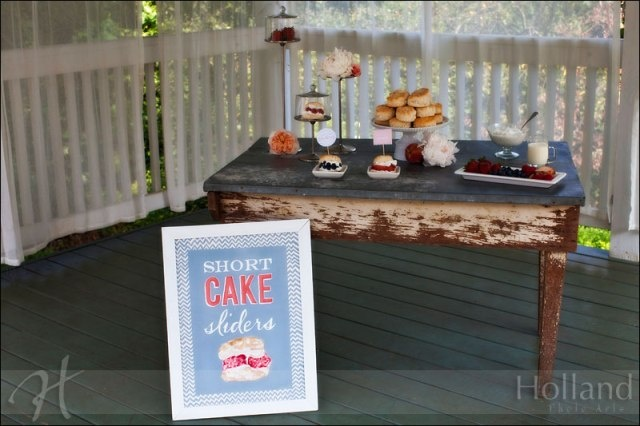 "garden reception ""Short cake sliders"" 
