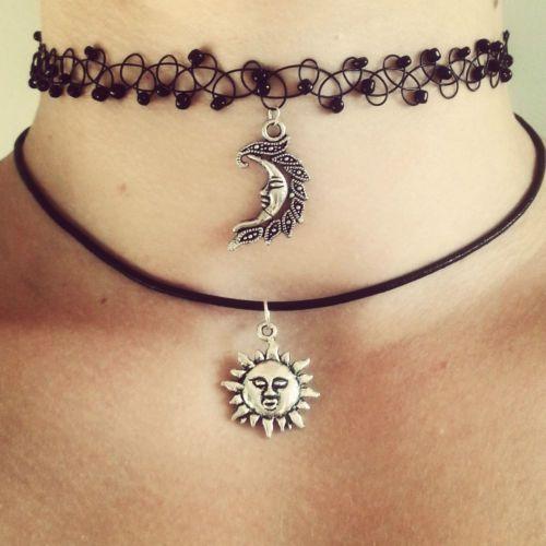 SUN choker necklace grunge & moon 90s 1990s festival summer