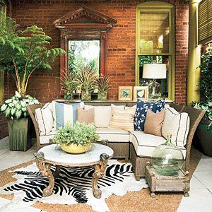 Outdoor space.  Love the Zebra rug