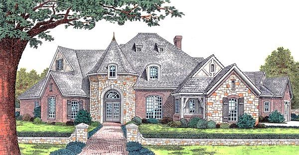 European French Country Tudor Victorian House Plan 66067