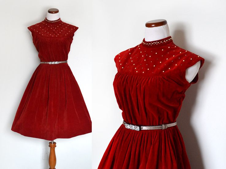 1940s dress velvet dress red dress 40s dress rhinestone beaded