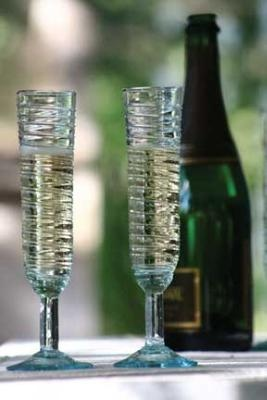 Recycled champagne flutes. (set of 6) $59