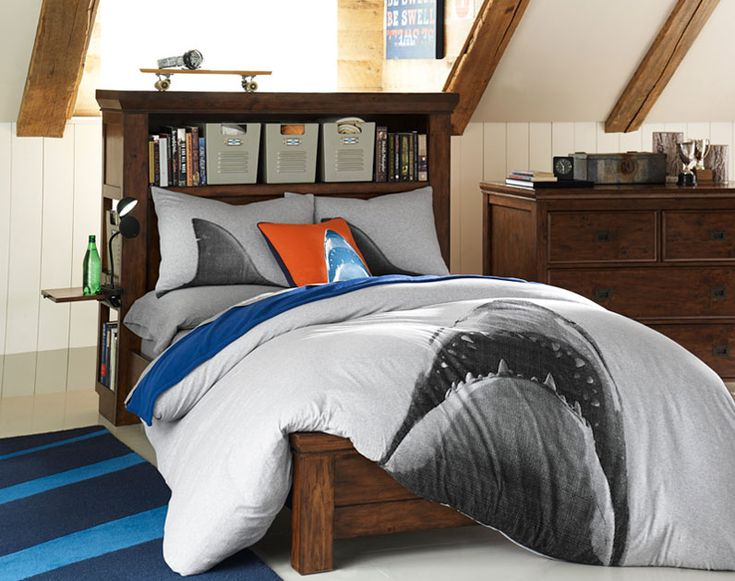 Teenage guys bedroom ideas shark themed bedding pbteen for Teenage bedroom designs for guys