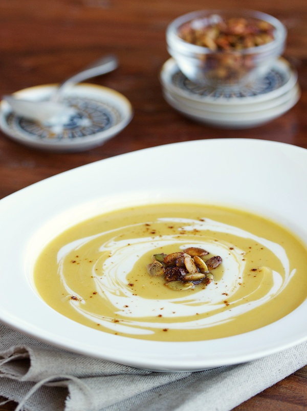 Curry Squash Soup, Candied Pumpkin Seeds & Maple Crema