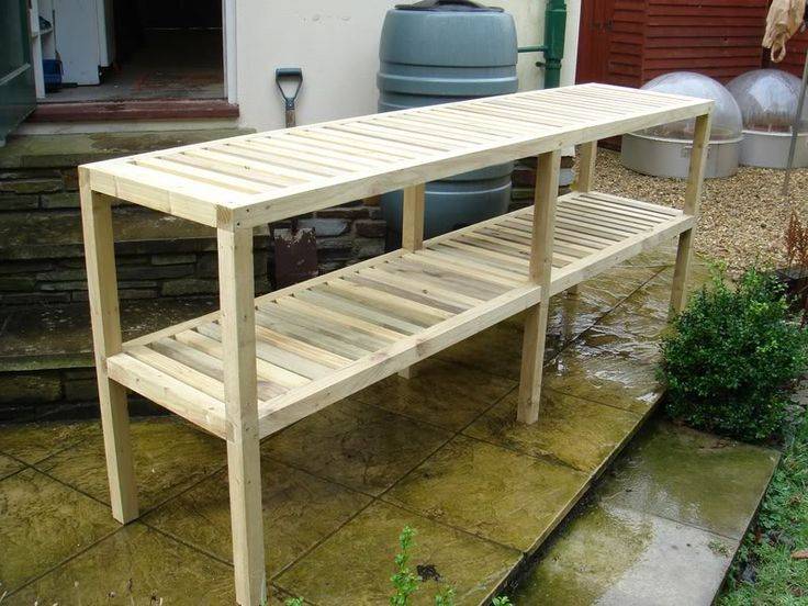 Hoop house shelves potting bench garden structures - Wooden staging for greenhouse ...