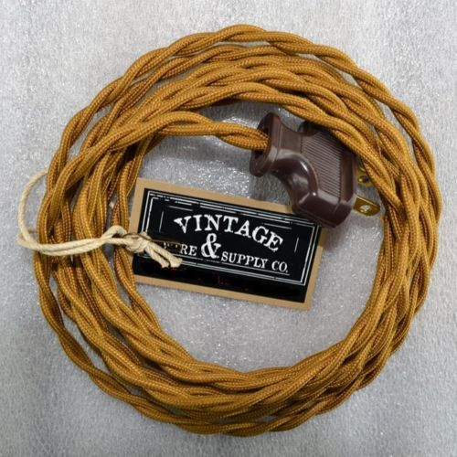 bronze cloth covered rewire lamp cord wire plug vintage light ebay