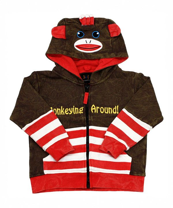 Take a look at this Brown & Red Sock Monkey Hoodie on zulily today